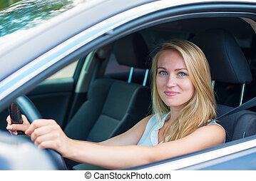 schöne , junge frau, fahren, a, auto.
