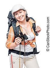 schöne , junge frau, wandern, mit, a, rucksack, und, fernglas, posierend