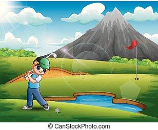 schöne , junge, golfen, spielende , natur