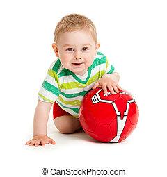 schöne , junge, wenig, kugel, spielen, ball., weißes, spielende , hintergrund, kind