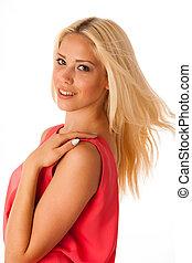 schöne , junger, blond, frau, studio, porträt