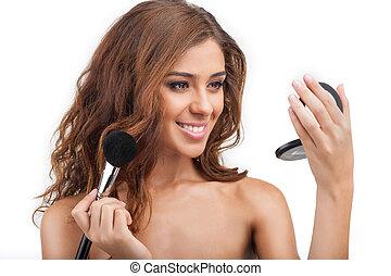 schöne , junger, make-up., make-up, porträt, frauen