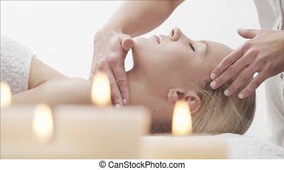 schöne , junger, therapie, care., salon., frau, gesunde,...
