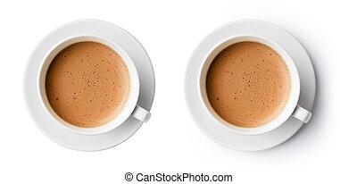 schöne , kaffeetasse, oberseite, schaum, freigestellt,...