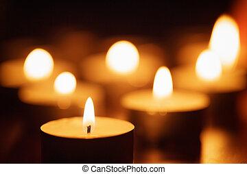 schöne, Kerzen, Fokus, brennender, heraus