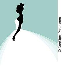 schöne , kleiden, frau, flieger, einladung, abbildung, braut, vektor, schablone, wedding, show.eps, oder, bestand