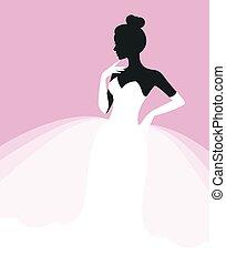 schöne , kleiden, frau, schablone, weisen, flieger, wedding, braut, vektor, illustration.eps, einladung, oder