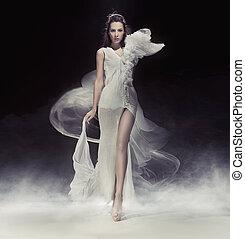 schöne , kleiden, weißes, brünett, dame