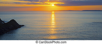 schöne , kopf, aus, gelber , panoramisch, sonnenuntergang, ...