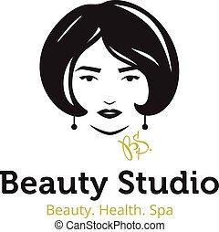 schöne , kopf, frau, gold, schoenheit, logo, salon, vektor, studio, colors., minimalistic, spa, logo., template., schwarz
