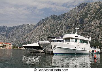 schöne , kotor, yacht, montenegro, bucht, weißes