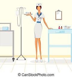 schöne , krankenschwester, frau, klinikum