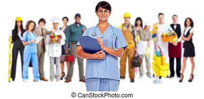 schöne , krankenschwester, junger, woman.