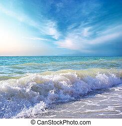 schöne , kueste, von, sandstrand, an, day., natur,...