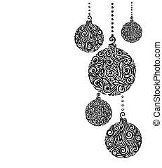 schöne , kugeln, schwarzer hintergrund, hängender , monochrom, weißes weihnachten