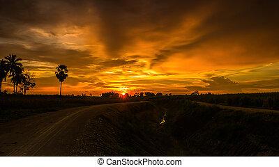 schöne , ländlich, sunset.