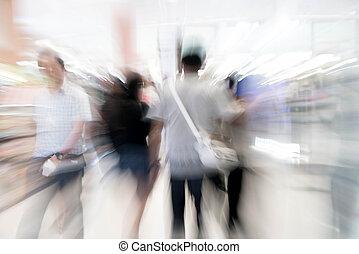 schöne , laden, einkaufszentrum, leute, abstrakt, einkaufszentrum, luxus, verwischen, einzelhandelsgeschäft