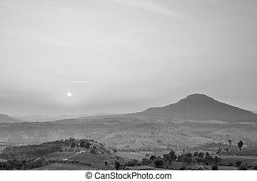 schöne, Landschaft, aus, Schwarz, landschaftsbild, weißes, Sonnenaufgang
