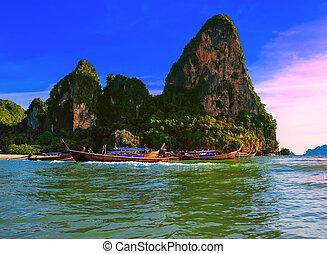 schöne , landschaft., meer, touristic, natur, tropische , kosten, hintergrund, thailand