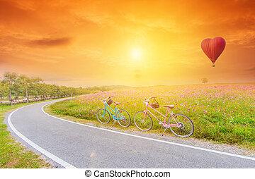 schöne , landschaftsbild, bild, mit, bicycles, an, sonnenuntergang