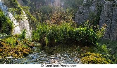 schöne , landschaftsbild, in, der, plitvice, seen, nationalpark