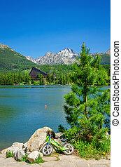 schöne , landschaftsbild, von, a, bergsee