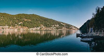 schöne , landschaftsbild, von, nani, lake.