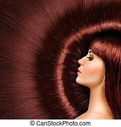 schöne , langes haar, m�dchen, glänzend, rotes