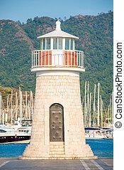 schöne , leuchturm, auf, der, hintergrund, von, berge, und, moored, y