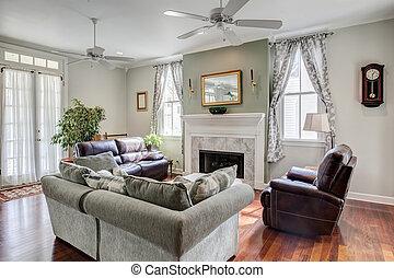 schöne , livingroom, kaminofen