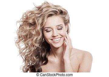 schöne , lockig, gesunde, langes haar, lächeln, woman.