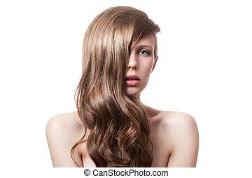 schöne , lockig, langer, hair., blond, woman.