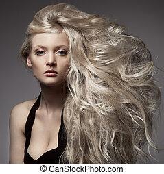 schöne , lockig, langes haar, blond, woman.