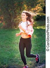 schöne , lustig, frau, park, junger, jogging