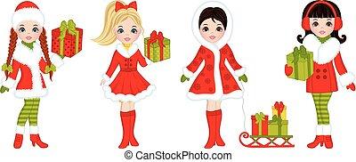 schöne mädchen, junger, geschenke, vektor, weihnachten