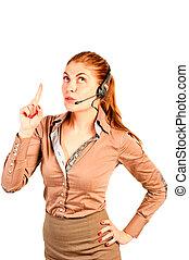 schöne , m�dchen, bediener, kommuniziert, mit, der, klient