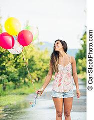 schöne , m�dchen, luftballone