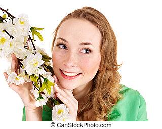 schöne , m�dchen, mit, fruehjahr, flower.