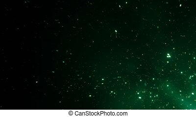 schöne , magisches, funken, steigend, von, groß, feuer, in, nacht, sky., abstrakt, freigestellt, grün, farbe, glühen, partikeln, auf, schwarzer hintergrund, fliegendes, auf., geschlungen, 3d, animation., bewegen, corner., 4k, ultra, hd, 3840x2160