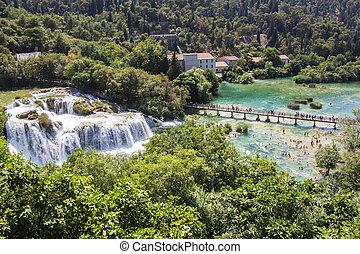 schöne , meisten, nationalpark, eins, berühmt, krka, kroatien