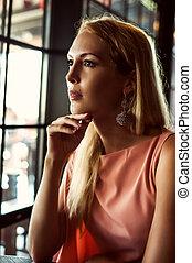 schöne , mode, frau, in, rosa kleid