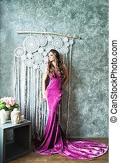 schöne , mode, lila, velvel, glamourus, frau, modell, kleiden