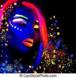 schöne , mode, neonröhren, frau, make-up, porträt, fluoreszierend, modell, m�dchen