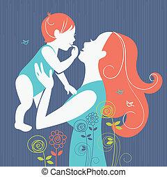schöne , mutter, silhouette, mit, sie, baby, blumen-, hintergrund., karte, von, glücklich, mother's, tag