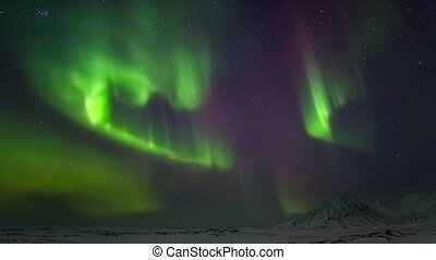 schöne , nördliche lichter, auf, der, arktisch,...