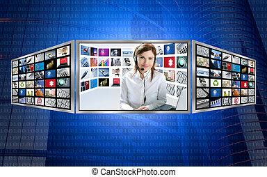 schöne , nachrichten, fernsehapparat, rothaarige, frau, auf, 3d, textanzeige