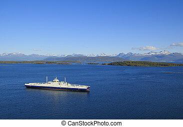 schöne , natur, panorama, berge., fjord, geiranger, norwegen, fähre