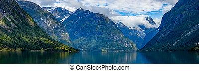 schöne , norway., panorama, natur, see, lovatnet