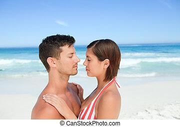 schöne , paar, strand