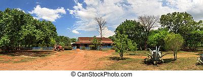 schöne , panorama, kubanische, ranch, ansicht